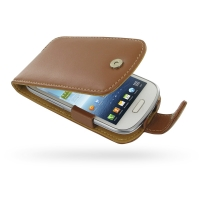 Samsung Galaxy S3 Mini Leather Flip Case (Brown) PDair Premium Hadmade Genuine Leather Protective Case Sleeve Wallet