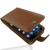 Samsung Galaxy S WiFi 5.0 Leather Flip Case (Brown) PDair Premium Hadmade Genuine Leather Protective Case Sleeve Wallet
