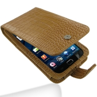 Samsung Galaxy S WiFi 5.0 Leather Flip Case (Brown Croc Pattern) PDair Premium Hadmade Genuine Leather Protective Case Sleeve Wallet