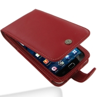 Samsung Galaxy S WiFi 5.0 Leather Flip Case (Red) PDair Premium Hadmade Genuine Leather Protective Case Sleeve Wallet