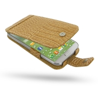 Leather Flip Case for Samsung Galaxy S4 SIV LTE GT-i9500 GT-i9505 (Brown Crocodile Pattern)
