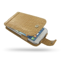Leather Flip Case for Samsung Galaxy Win Duos GT-i8550 GT-i8552 (Brown Crocodile Pattern)