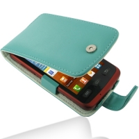Samsung Galaxy xCcover Leather Flip Case (Aqua) PDair Premium Hadmade Genuine Leather Protective Case Sleeve Wallet