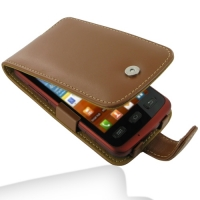 Samsung Galaxy xCcover Leather Flip Case (Brown) PDair Premium Hadmade Genuine Leather Protective Case Sleeve Wallet
