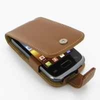 Leather Flip Case for Samsung Galaxy Y Duos GT-S6102 (Brown)