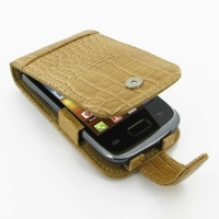 Leather Flip Case for Samsung Galaxy Y Duos GT-S6102 (Brown Crocodile Pattern)