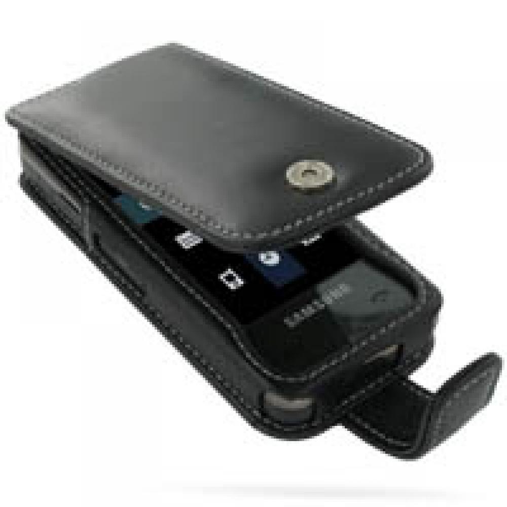 Leather Flip Case for Samsung GH-F490 (Black)