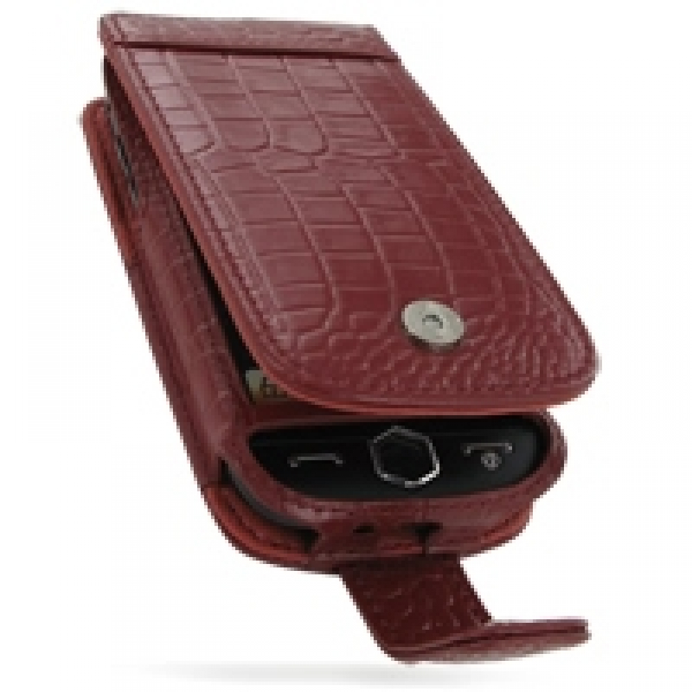 Samsung i8000 Omnia II Leather Flip Case (Red Croc Pattern) PDair Premium Hadmade Genuine Leather Protective Case Sleeve Wallet
