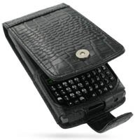 Leather Flip Case for Samsung SGH-i780 (Black Crocodile Pattern)