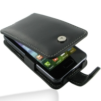 Samsung Wave M Leather Flip Case (Black) PDair Premium Hadmade Genuine Leather Protective Case Sleeve Wallet