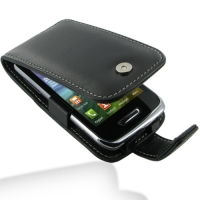 Leather Flip Case for Samsung Wave Y GT-S5380 (Black)