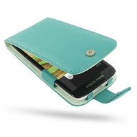 Leather Flip Case for Sharp Aquos Phone SH930W (Aqua)