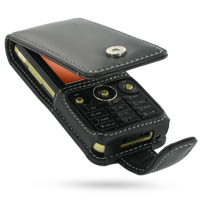 Leather Flip Case for Sony Ericsson W660 (Black)