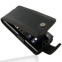 Sony Ericsson Xperia Ray Leather Flip Case (Orange Stitch) PDair Premium Hadmade Genuine Leather Protective Case Sleeve Wallet