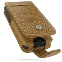 Leather Flip Case for Sony Walkman NWZ-X1050 NWZ-X1060 NWZ-X1000 (Brown Crocodile Pattern)