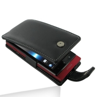 Leather Flip Case for Sony Xperia Sola MT27i (Black)