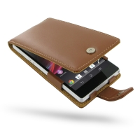 Leather Flip Case for Sony Xperia Z L36H (Brown)