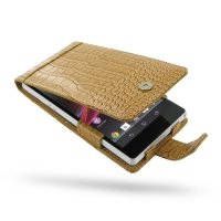 Leather Flip Case for Sony Xperia Z L36H (Brown Crocodile Pattern)
