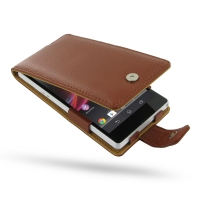 Leather Flip Case for Sony Xperia Z L36H (Brown Pebble Leather)