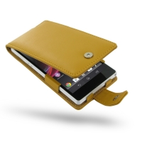 Leather Flip Case for Sony Xperia Z L36H (Golden Palm)