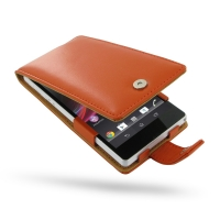 Leather Flip Case for Sony Xperia Z L36H (Orange)