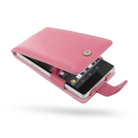 Leather Flip Case for Sony Xperia Z L36H (Petal Pink Pebble Leather)