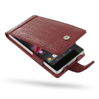 Leather Flip Case for Sony Xperia Z L36H (Red Crocodile Pattern)