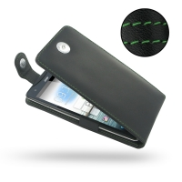 Acer Liquid S1 Leather Flip Top Case (Green Stitch) PDair Premium Hadmade Genuine Leather Protective Case Sleeve Wallet