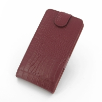 Acer Liquid S1 Leather Flip Top Case (Red Croc Pattern) PDair Premium Hadmade Genuine Leather Protective Case Sleeve Wallet