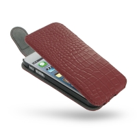 Leather Flip Top Case for Apple iPhone 5 | iPhone 5s (Red Crocodile Pattern)