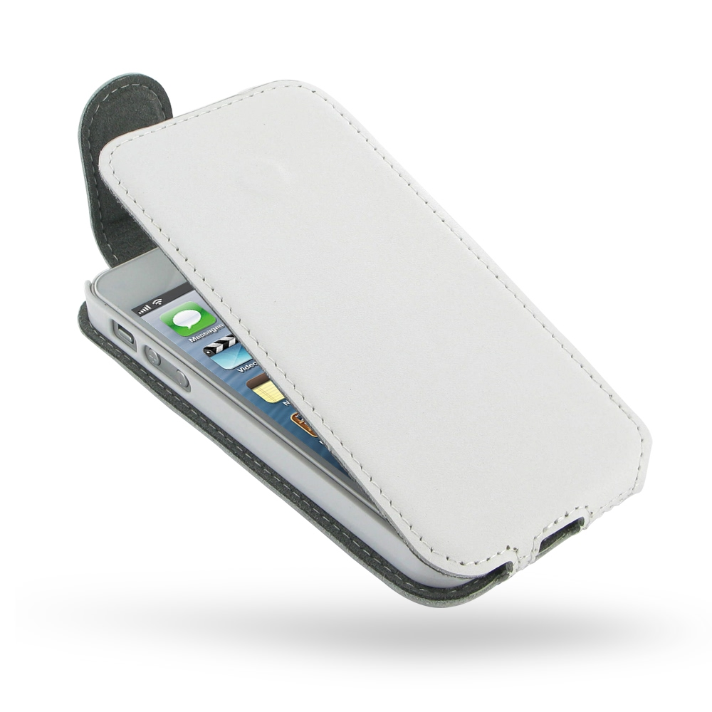 iphone 5 5s leather flip top case white pdair wallet sleeve pouch. Black Bedroom Furniture Sets. Home Design Ideas