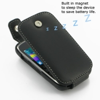 BlackBerry Curve 9320 Leather Flip Top Case (Black) PDair Premium Hadmade Genuine Leather Protective Case Sleeve Wallet