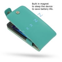 BlackBerry Z10 Leather Flip Top Case (Aqua) PDair Premium Hadmade Genuine Leather Protective Case Sleeve Wallet