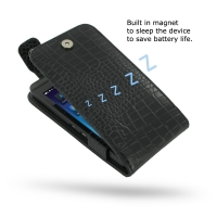 BlackBerry Z10 Leather Flip Top Case (Black Croc Pattern) PDair Premium Hadmade Genuine Leather Protective Case Sleeve Wallet