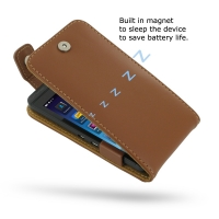 BlackBerry Z10 Leather Flip Top Case (Brown) PDair Premium Hadmade Genuine Leather Protective Case Sleeve Wallet