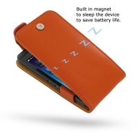 BlackBerry Z10 Leather Flip Top Case (Orange) PDair Premium Hadmade Genuine Leather Protective Case Sleeve Wallet