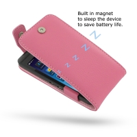 BlackBerry Z10 Leather Flip Top Case (Petal Pink Pebble Leather) PDair Premium Hadmade Genuine Leather Protective Case Sleeve Wallet