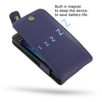 BlackBerry Z10 Leather Flip Top Case (Purple) PDair Premium Hadmade Genuine Leather Protective Case Sleeve Wallet