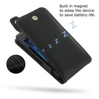 BlackBerry Z10 Leather Flip Top Case (Purple Stitch) PDair Premium Hadmade Genuine Leather Protective Case Sleeve Wallet