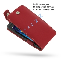 BlackBerry Z10 Leather Flip Top Case (Red) PDair Premium Hadmade Genuine Leather Protective Case Sleeve Wallet