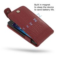 BlackBerry Z10 Leather Flip Top Case (Red Croc Pattern) PDair Premium Hadmade Genuine Leather Protective Case Sleeve Wallet