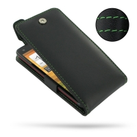 HTC Butterfly Leather Flip Top Case (Green Stitch) PDair Premium Hadmade Genuine Leather Protective Case Sleeve Wallet