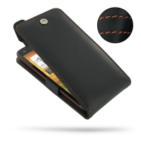 HTC Butterfly Leather Flip Top Case (Orange Stitch) PDair Premium Hadmade Genuine Leather Protective Case Sleeve Wallet