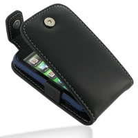 Leather Flip Top Case for HTC Explorer A310e (Black)