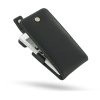 Leather Flip Top Case for HTC J Z321e (Black)