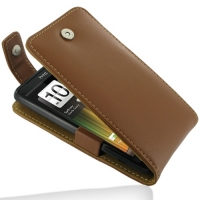 HTC Velocity 4G Leather Flip Top Case (Brown) PDair Premium Hadmade Genuine Leather Protective Case Sleeve Wallet