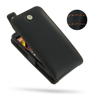 Huawei Ascend D1 XL Leather Flip Top Case (Orange Stitch) PDair Premium Hadmade Genuine Leather Protective Case Sleeve Wallet