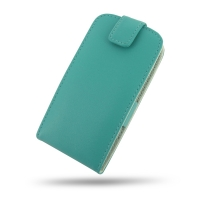 Huawei Ascend P1 LTE Leather Flip Top Case (Aqua) PDair Premium Hadmade Genuine Leather Protective Case Sleeve Wallet