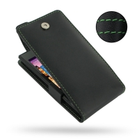 Huawei Ascend P1 XL Leather Flip Top Case (Green Stitch) PDair Premium Hadmade Genuine Leather Protective Case Sleeve Wallet