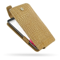 LG G3 Leather Flip Top Case (Brown Croc Pattern) PDair Premium Hadmade Genuine Leather Protective Case Sleeve Wallet